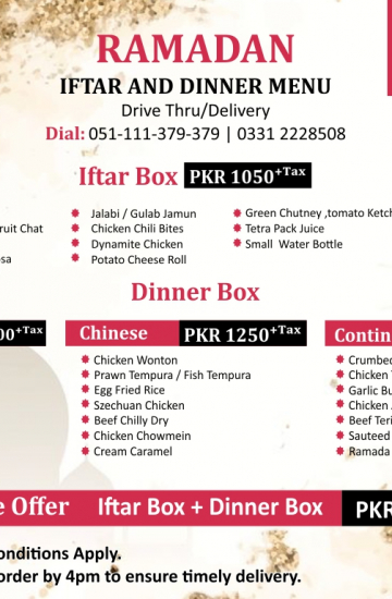 Iftar &Dinner deal 2020